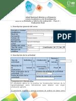 Formato Guía de actividades y rúbrica de evaluación Paso 5 - Evaluación final