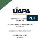 TAREA 4 HISTORIA DE LA LENGUA ESPANOLA