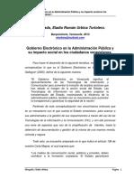 Gobierno Electrónico en la Administración Pública y su impacto social en los ciudadanos venezolanos