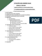 ORGANIZACIÓN Y PLANIFICACIÓN EN LA EDUCACIÓN FÍSICA