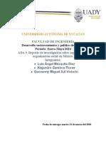 ADA 9. Reporte de investigación sobre aspectos de la organización social en México.