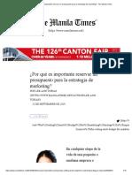 ¿Por qué es importante reservar un presupuesto para la estrategia de marketing_ - The Manila Times