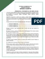 GRADO CUARTO 31 DE MARZO AL 3 DE ABRIL TRABAJO EN CASA