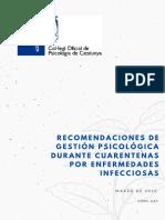 Guía de gestión psicológica frente a cuarentenas por enfermedades infecciosas- Español