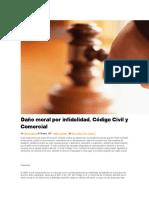 DOCTRINA ARGENTINA Daño moral por infidelidad. Código Civil y Comercial