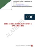 10 ĐỀ SPEAKING PART 2 THI NHIỀU NHẤT - ALANDIELTS