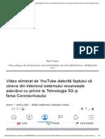 Video Eliminat de YouTube Datorită Faptului Că Cineva Din Interiorul Sistemului Recunoaște Adevărul Cu Privire La Tehnologia 5G Și Farsa Coronavirusului – Black Topics