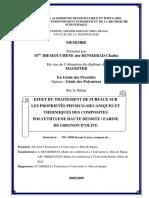 Effet Du Traitement de Surface Sur Les Proprietés Physico-mecaniques Et Thermiques Des Composites Polyethylene Haute Densitéfarine de Grignon d'Olive