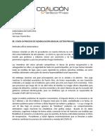 Borrador de carta de la Coalición del Sector Privado que pide reabrir el comercio por fases