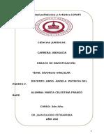 Ensayo Derecho Civil II.  DIVORCIO VINCULAR..docx