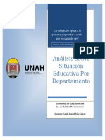 Análisis Situación Educativa por Departamento Honduras