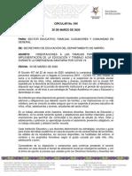 CIRCULAR 040-ORIENTACIONES A LAS FAMILIAS PARA APOYAR LA EDUCACION Y TRABAJO ACADEMICO