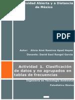 Actividad 1. Clasificación de datos y no agrupados en tablas de frecuencias