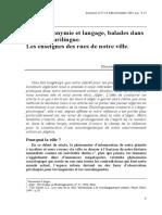 Entre Toponymie Et Langage, Balades Dans l'Alger Plurilingue Taleb-ibrahmi