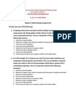 Research Methodology Assignments