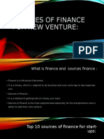 Sources of finance for new venture