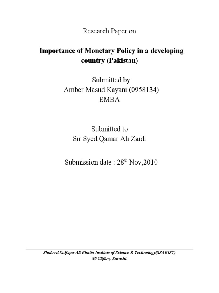 monetary policy research paper