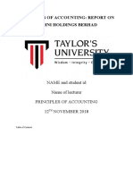 PRINCIPLES OF ACCOUNTING Financial reports assignment