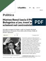 TRENT'ANNI DI SCISSIONI NEL CENTROSINISTRA