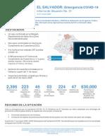 El Salvador - Emergencia COVID-19 - Informe de Situación No. 01 - Al 21 marzo 2020