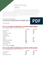 CAMPEÃO AUTO PECAS - CARBURADORES_ GIGLAGEM CARBURADOR WEBER 460 CHT de G a Z