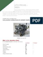 CAMPEÃO AUTO PECAS - CARBURADORES_ GIGLAGEM CARBURADOR WEBER SIMPLES 190 (icev 32)