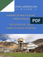 Informe de Practicas Pre - Profesional CIA Minera Huaron 2018 - Carlos G. Velasquez Mendizabal