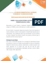Presentación del curso DIseño y Evaluación Integral de Proyectos