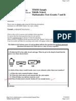 Kids Maths Grade 7 Test Questions 2010 07