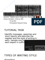 Style and register of writing