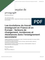 Les évolutions du travail enseignant en France et en Europe