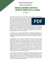 Breve Examen Critico Del Novus Ordo Missae