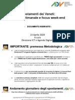 Gli spostamenti in Veneto sotto Coronavirus