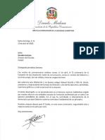 Carta de felicitación del presidente Danilo Medina con motivo del 72 aniversario del periódico El Caribe