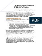 CONTABILIDADE ORGANIZADA VERSUS CONTABILIDADE SIMPLIFICADA