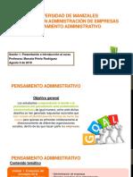 1. Presentacion del curso Pensamiento administrativo