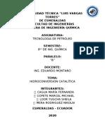 escrito de Hidroconversión Catalítica PETROLEO