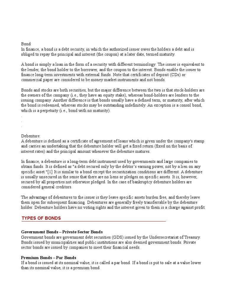 bonds & debenture | bonds (finance) | interest