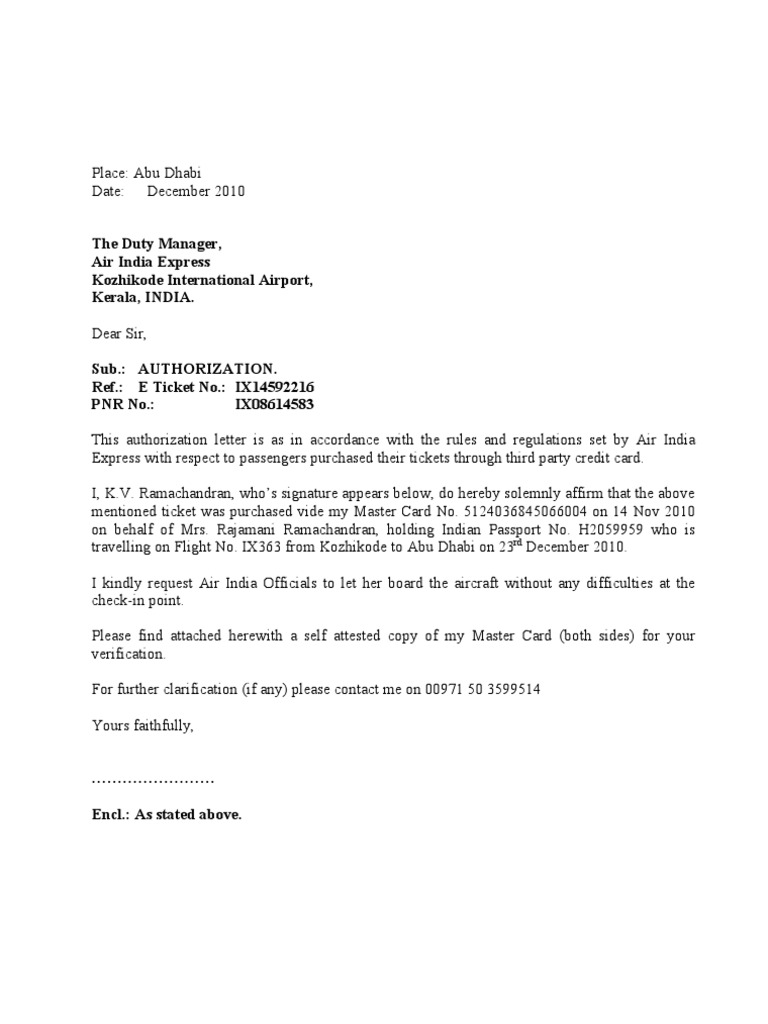 Authorization Letter to Air India – Creditcard Authorization Letter