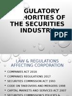 CA2016 Wk 1 & 2 Regulatory authorities of the securities industry