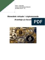 Monedele Virtuale, Criptomonedele. Avantaje Și Riscuri