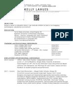 teaching resume 2020
