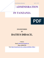 Public Administration in Tanzania by Datius Didace