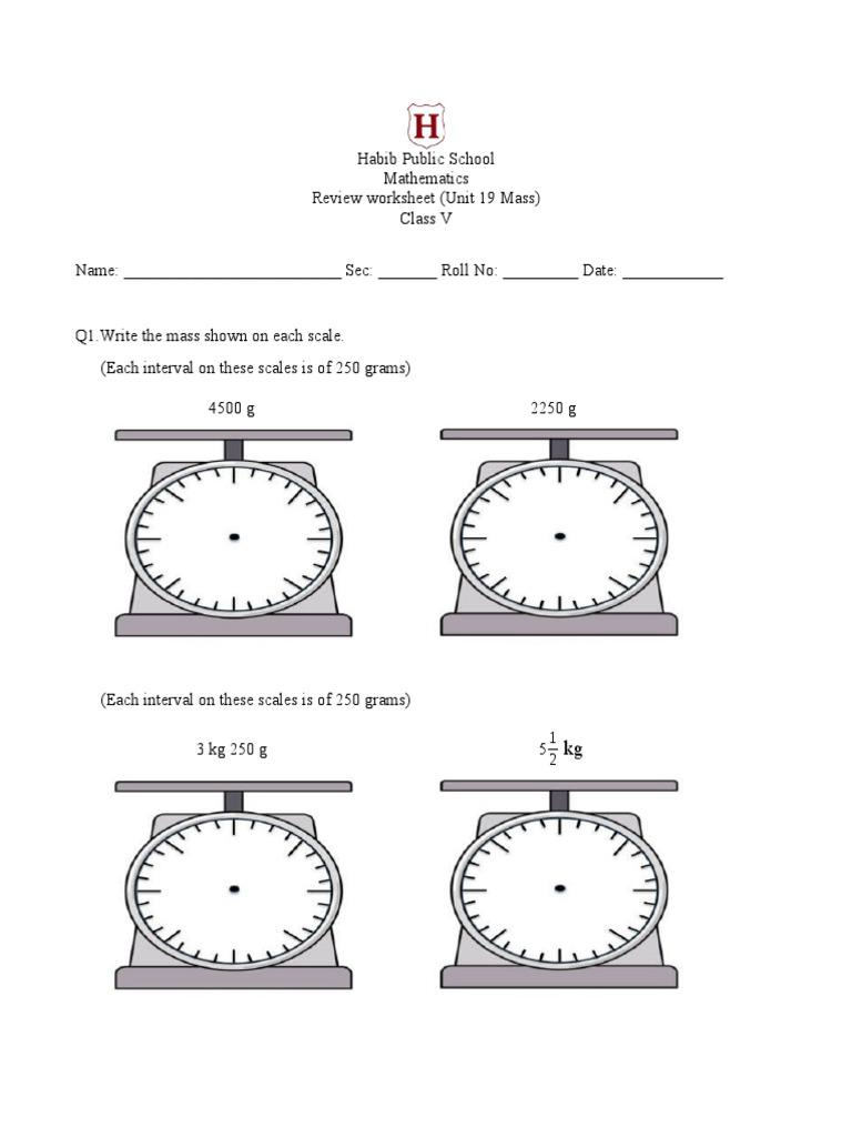 Class V Review Worksheet Unit 19 Mass And Unit 20 Capacity Litre Units Of Measurement [ 1024 x 768 Pixel ]