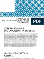 EXAMPLES OF DICTATORSHIPS IN RELATION TO MACBETH