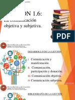 Lección 1.6 La comunicación objetiva y subjetiva.