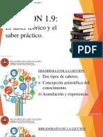 Lección 1.9 El saber teórico y el saber práctico.