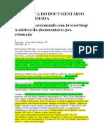 Leão, Beto, A ESTÉTICA DO DOCUMENTÁRIO PÓS-RETOMADA. (Artigo)