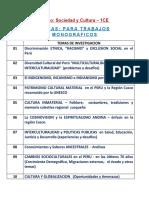 TEMAS Para Trabajos Monograficos - Sociedad y Cultura Grupo 1CE- (2020 -I)