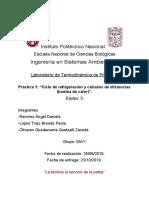 Práctica 1. Ciclo de Refrigeración y cálculo de Eficiencias